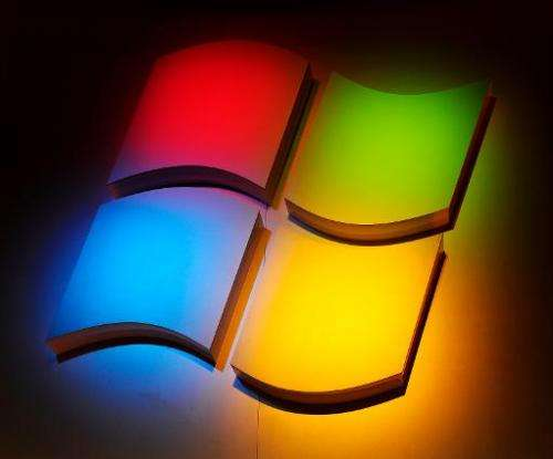 The Windows Logo at a Microsoft press conference at the 2011 International Consumer Electronics Show in Las Vegas, Nevada on Jan