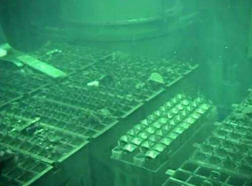 This file video grab, taken by Tokyo Electric Power Co. (TEPCO) on May 7, 2011, shows the spent fuel pool of the unit four react