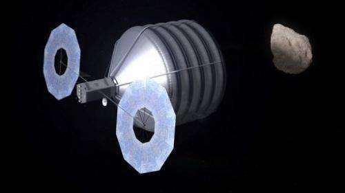 This NASA artist's rendering obtained on May 31, 2013 shows what capturing an asteroid could look like