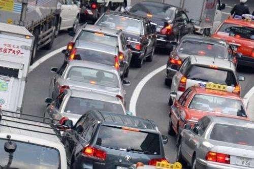 Traffic jam is seen in Tokyo, on September 21, 2006