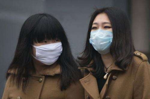 Two women wearing face masks walk together during heavily polluted weather in Beijing on January 29, 2013