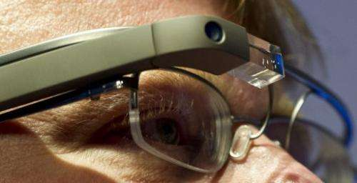 """US blogger Robert Scoble presents the Google Glass on April 24, 2013 at the """"NEXT Berlin"""" conference in Berlin"""