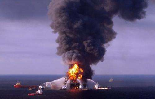 US Coast Guards battle the blaze at BP's Deepwater Horizon well in the Gulf of Mexico on April 21, 2010