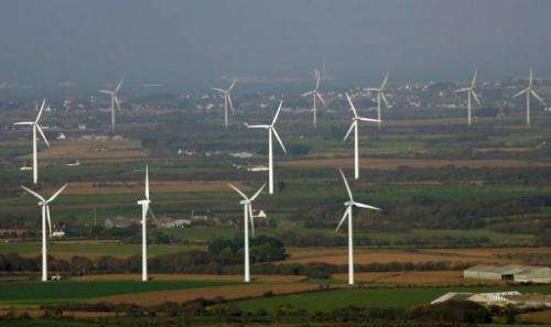 View taken 22 October 2007 shows the wind farm of Plouarzel in Brittany, France