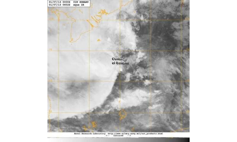 Wind shear and dry air bashing Tropical Depression Sonamu