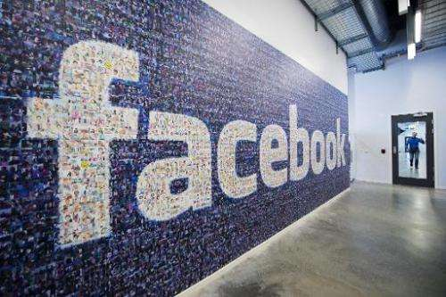 A big logo created from pictures of Facebook users worldwide is pictured in the company's Data Center on November 7, 2013 in Lul