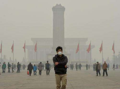 A Chinese tourist wears a face mask in Tiananmen Square as heavy air pollution shrouds Beijing on February 26, 2014