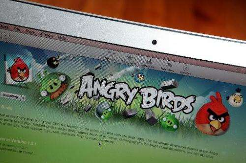 """An image of the popular video game """"Angry Birds"""" is displayed on a laptop on March 18, 2011, in San Anselmo, Californi"""