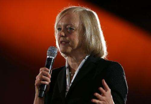 Hewlett Packard CEO Meg Whitman speaks during a keynote address on November 19, 2013 in San Francisco, California