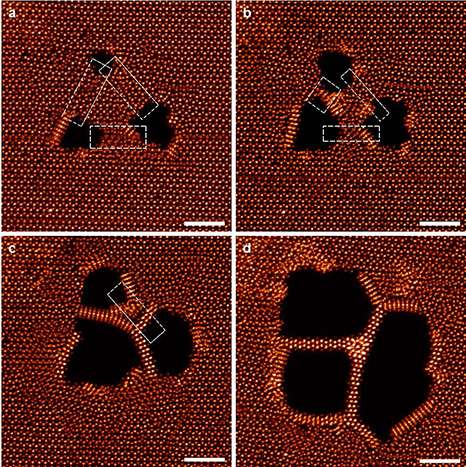 How to create nanowires only three atoms wide with an electron beam