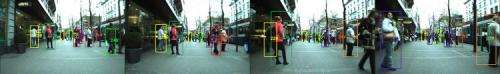Moving cameras talk to each other to identify, track pedestrians