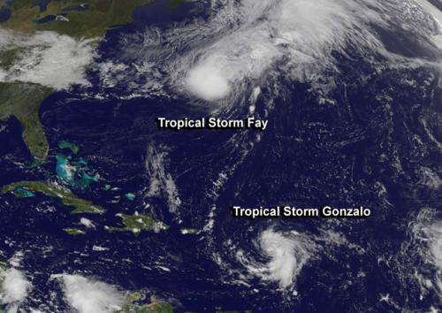 NASA sees newborn Tropical Storm Gonzalo form and threaten Caribbean islands