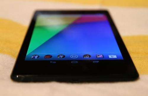 The Google Nexus 7 Android tablet, made by Asus is displayed during an event on July 24, 2013 in San Francisco, California