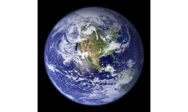 """This NASA handout image received 31 July 2007 shows the spectacular """"blue marble"""", the most detailed true-color image of the ent"""