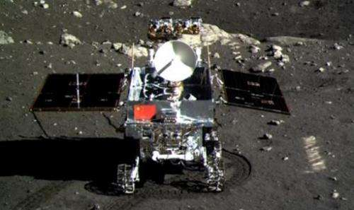 This screen grab taken from CCTV footage shows a photo of the Jade Rabbit moon rover taken by the Chang'e-3 probe lander on Dece