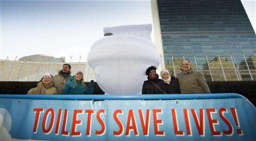 UN's large inflatable toilet marks global crisis