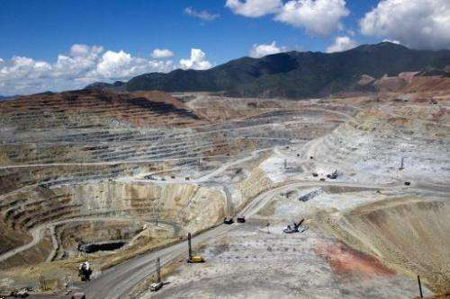 """View of the """"Buena Vista"""" copper mine in Cananea community, Sonora state, Mexico on August 13, 2014, which leaked sulf"""