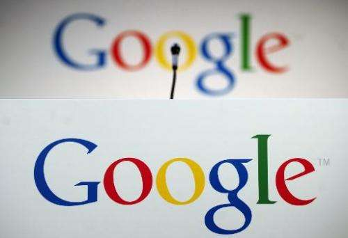 The Google logo is seen during a press announcement in New York, September 2, 2012