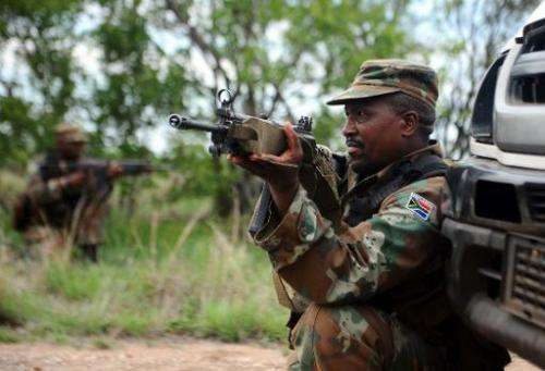 File picture shows members of the South African defence force deploying in a mock anti-poaching operation in Kruger National Par