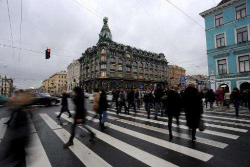 A picture taken in St. Petersburg on November 1, 2013, shows a view of a building where the social network VKontakte (In Touch)