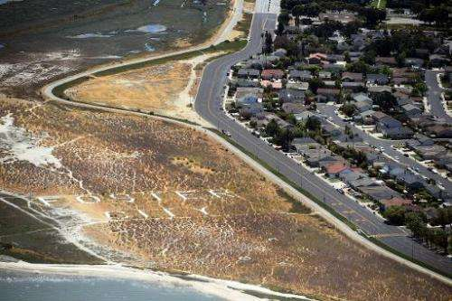 This picture taken from a helicopter shows a drought affected area on the outskirts of San Francisco, California, on July 23, 20