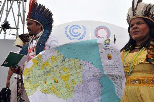Members of the Association of Indigenous Peoples of Brazil, demonstrate for their cause during the UN COP20 and CMP10 climate ch