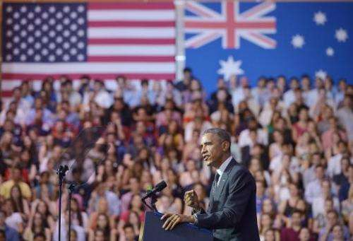 US President Barack Obama speaks at the University of Queensland on the sidelines of the G20 Summit in Brisbane on November 15,