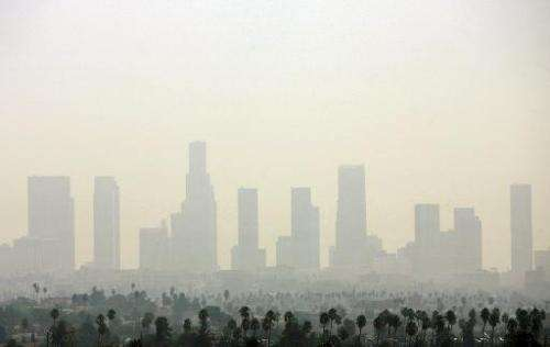 Air pollution over Downtown Los Angeles, California on September 20, 2006