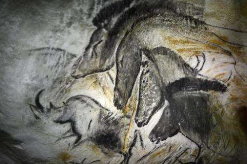 A picture taken on October 12, 2012 in Vallon-Pont-d'Arc of a prototype of painting of the facsimile of the Chauvet cave, which