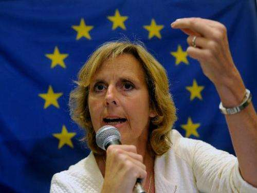 European Union Commissioner for Climate Action, Connie Hedegaard speaks during a press conference in Manila on September 6, 2013
