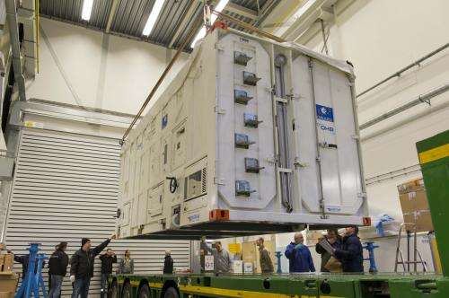 Four Galileo satellites at ESA test centre