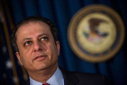 Preet Bharara, US Attorney for the Southern District of New York, speaks at a press conference, on May 19, 2014