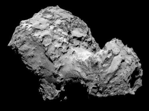 This picture taken on August 3, 2014 by space probe Rosetta's OSIRIS narrow-angle camera and obtained on August 6, 2014 from the