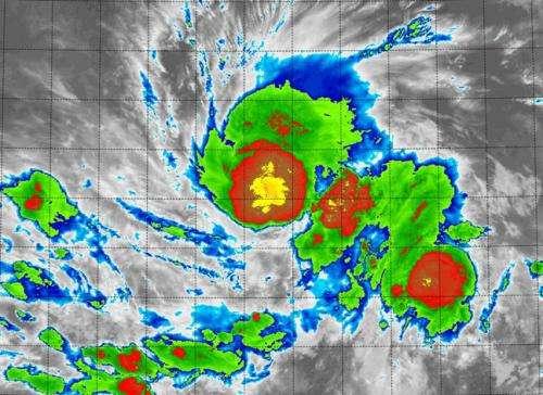 Tropical Storm Vance's center looks like a pumpkin to NASA's Terra satellite