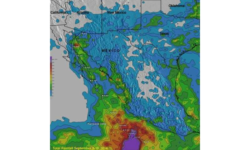 NASA's TRMM satellite tallies Hurricane Odile's heavy rainfall