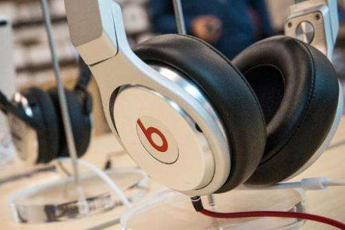 Beats headphones are sold in an Apple store in New York City on May 9, 2014