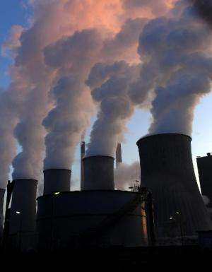 Cooling towers of the coal-fired power plant of Scholven in Gelsenkirchen, western Germany, are pictured on January 16, 2012