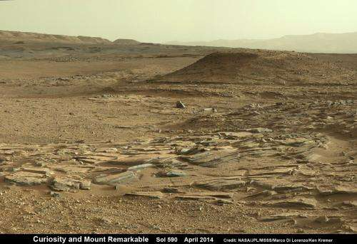 Curiosity reaches out to scrutinize next Martian drill target at Mount Remarkable