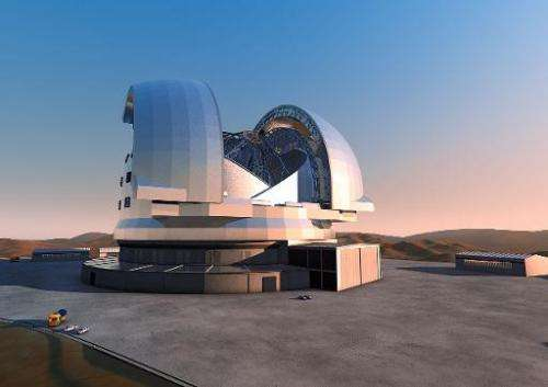 Handout image released by the European Southern Observatory (ESO) of an artist's rendering of the future European Extremely Larg