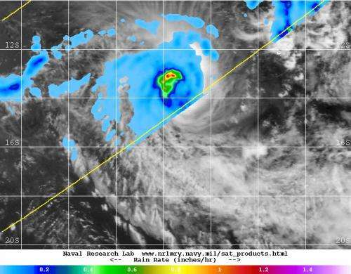 NASA sees heaviest rainfall north of Tropical Cyclone Kate's eye