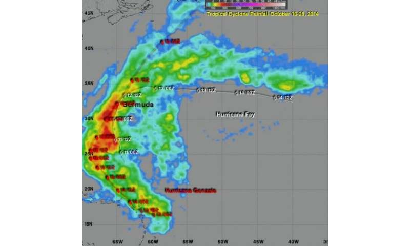 TRMM Satellite calculates Hurricanes Fay and Gonzalo rainfall
