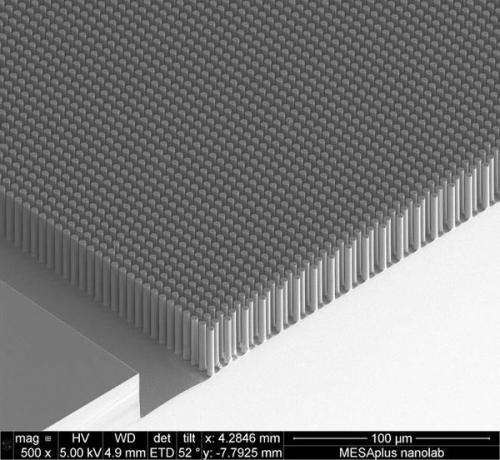 Researchers capture microimages of micropillar P/N junctions on a semiconductor