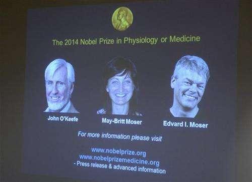 3 win medicine Nobel for discovering brain's GPS