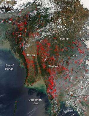 Agricultural fires across the Indochina landscape