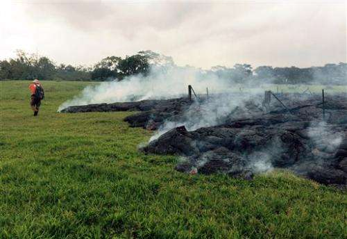 Lava creeps closer to main road in Hawaii town
