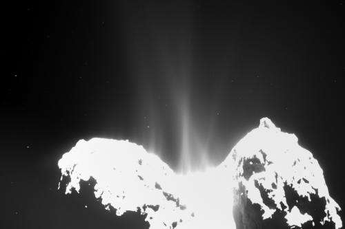 OSIRIS images of Rosetta's comet show spectacular streams of dust emitted into space.