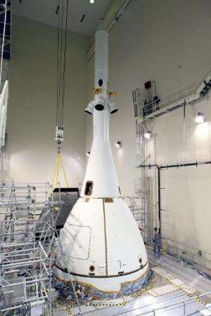 This NASA image released on November 6, 2014 shows Orion as it prepares to move to launch pad in Florida