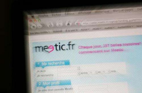 This picture taken on February 9, 2010 in Paris shows the Internet homepage of the dating agency website Meetic