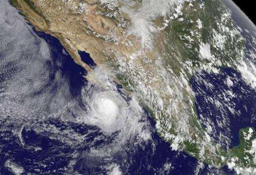 This September 5, 2014 NASA GOES Project image shows Hurricane Norbert swirling along the Pacific, off the coast of Mexico