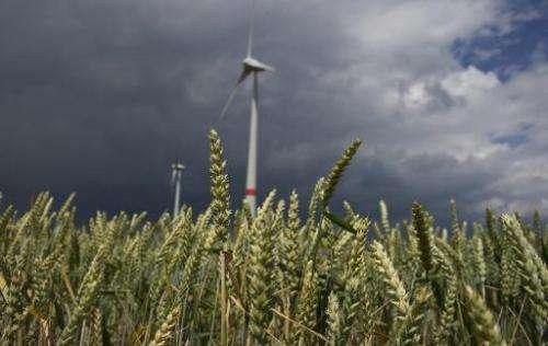 Wind turbines operate near a barley field in the town of Feldheim, Germany, June 20, 2011